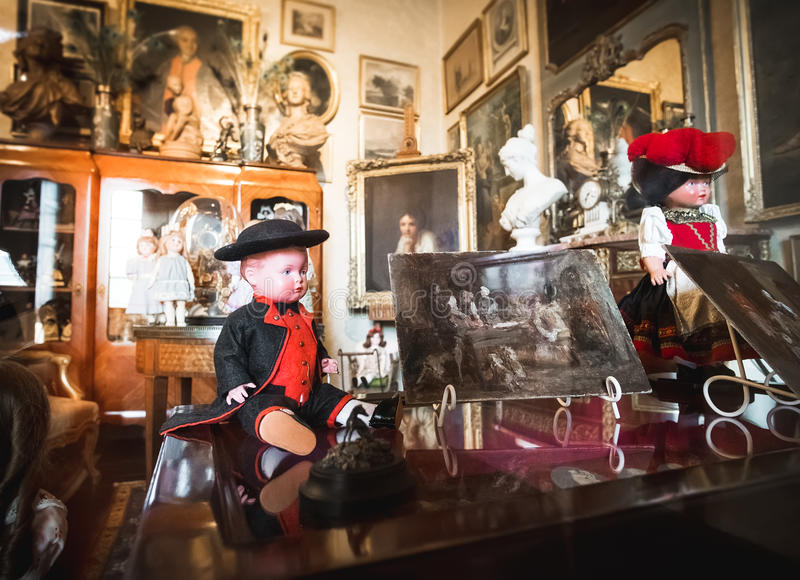 Collection antique dolls objects period costumes stock image