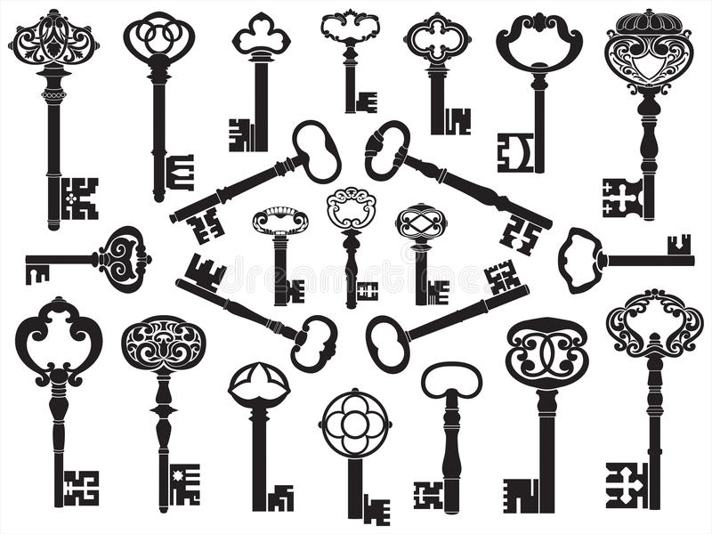 Collection Of Antique Keys Stock Photo