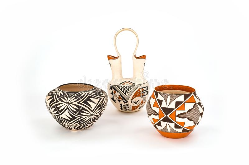 Collection of Antique Native American Pottery. stock images