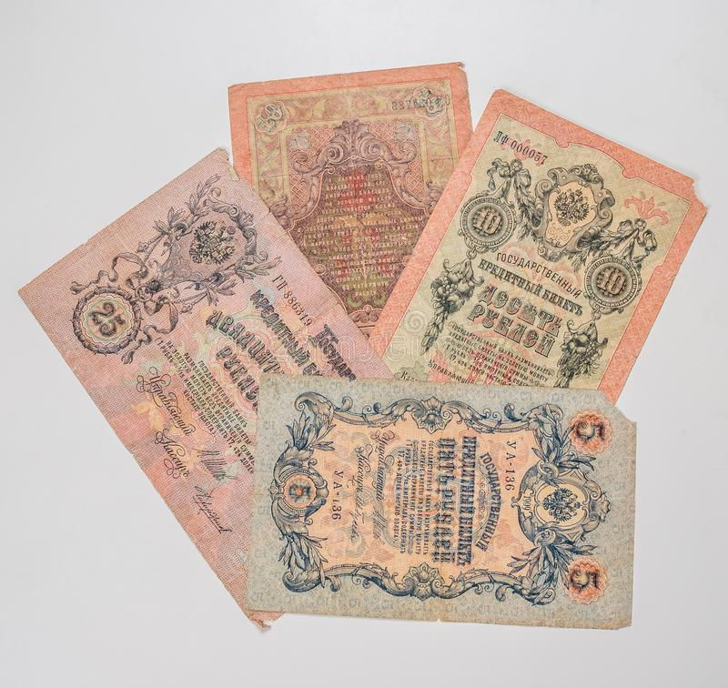 Collection of antique russian rubles royalty free stock images