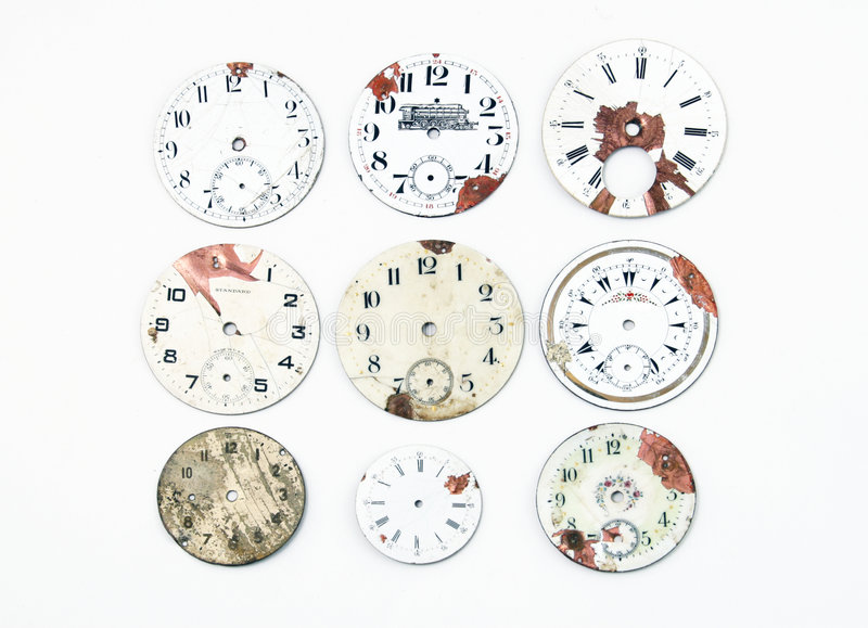 Collection of antique watch faces royalty free stock photography