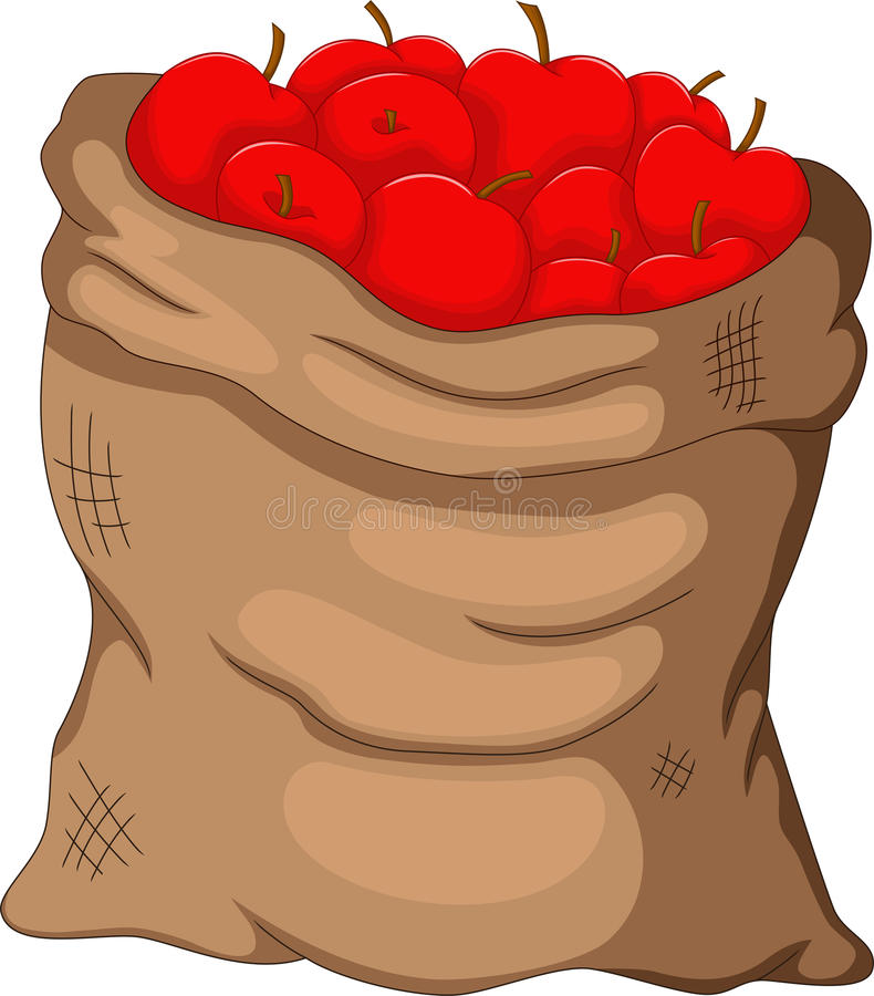 Collection apple in the sack. Illustration of collection apple in the sack vector illustration