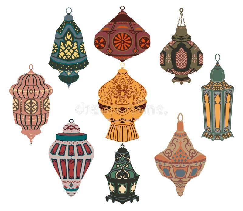 Collection arabe de lanternes Lampes orientales traditionnelles avec l'ornement floral national Objets d'isolement sur le fond bl illustration stock