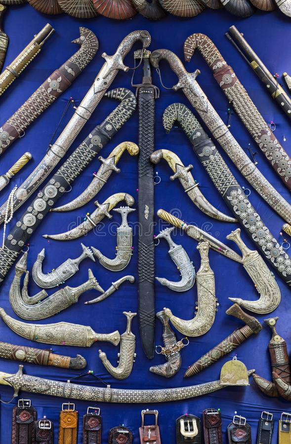 Collection of Arabian cold steel in Dubai royalty free stock photos