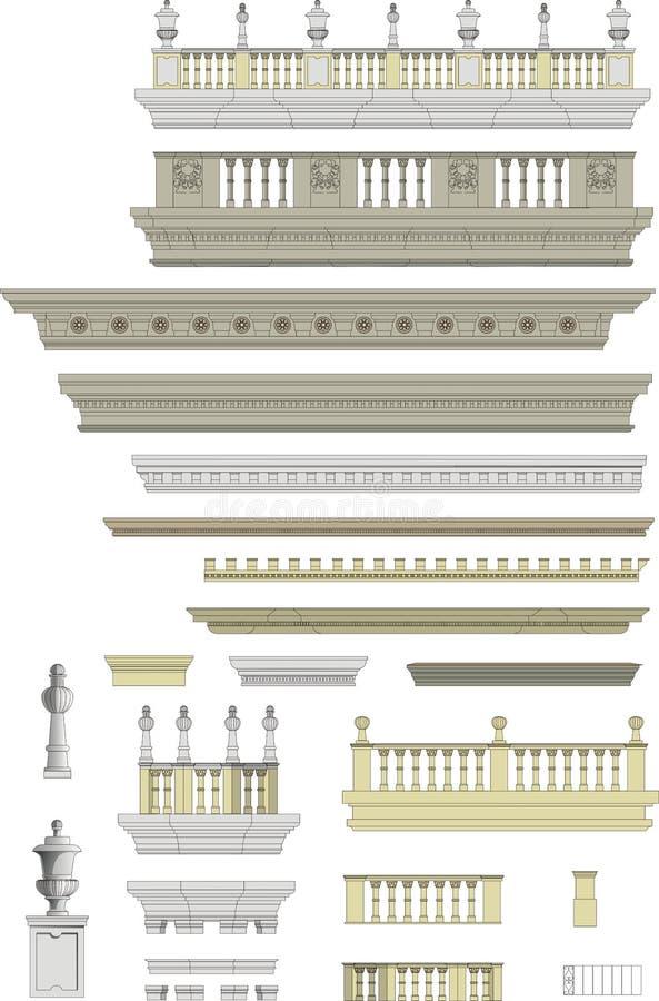 Collection architecturale d'avant-toits de vecteur illustration stock