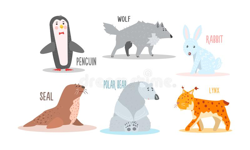 Collection of Arctic animals with names, penguin, wolf, rabbit, seal, polar bear, lynx vector Illustration stock illustration