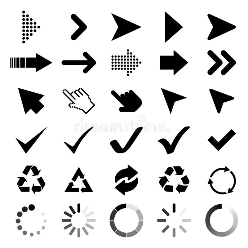 Collection Arrows, Cursor icons, Check marks, black Recycle and loading symbol. Arrow icons. Cursor vector icon. Recycle symbol. Loading icons. Eps10 royalty free illustration