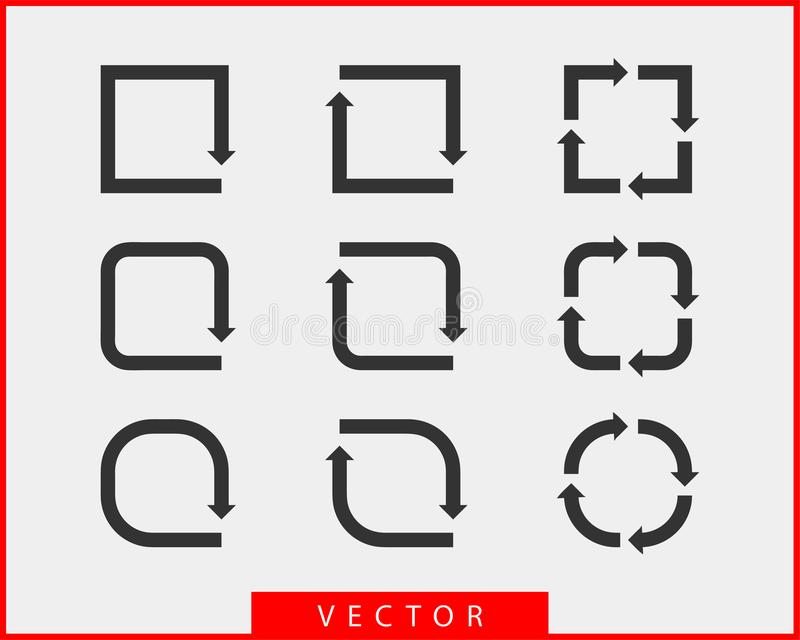 Collection arrows vector background black and white symbols. Different arrow icon set circle, up, curly, straight and twisted. stock illustration