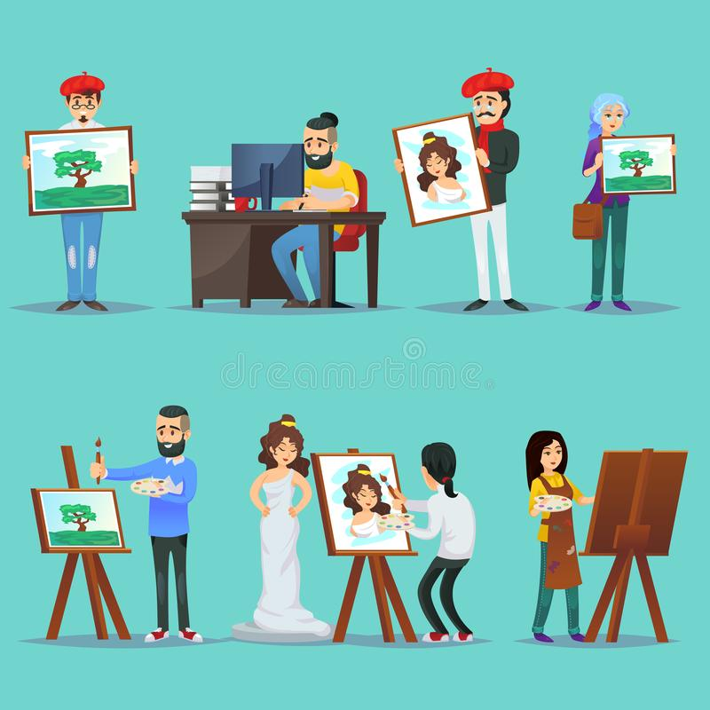 Collection of artists with their paintings. Illustration of various people painting and showing artworks on blue background vector illustration