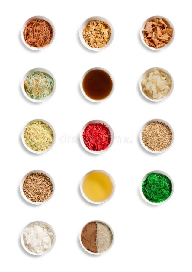 Collection of Asian Prosperity Toss, Lohei, Yusheng, yee sang ingredients stock photo