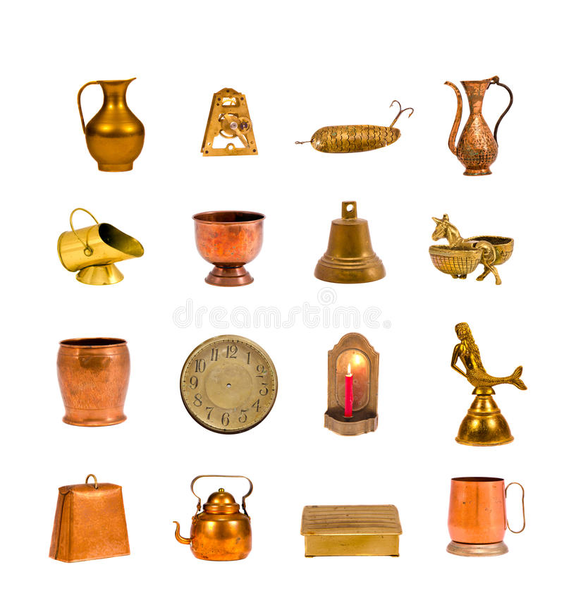 Collection assorted antique objects and tools isolated royalty free stock photos