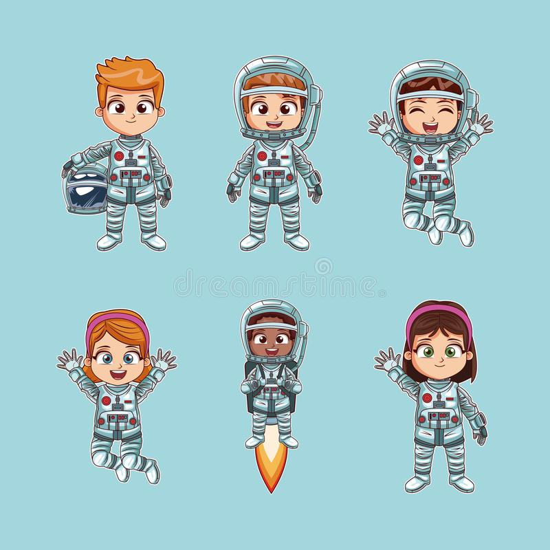 Cute kids astronauts cartoon. Collection of astronauts kids cartoon vector illustration graphic design stock illustration