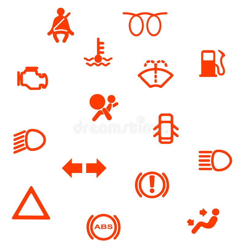 Vehicle Dash Warning Symbols Stock Vector Illustration Of