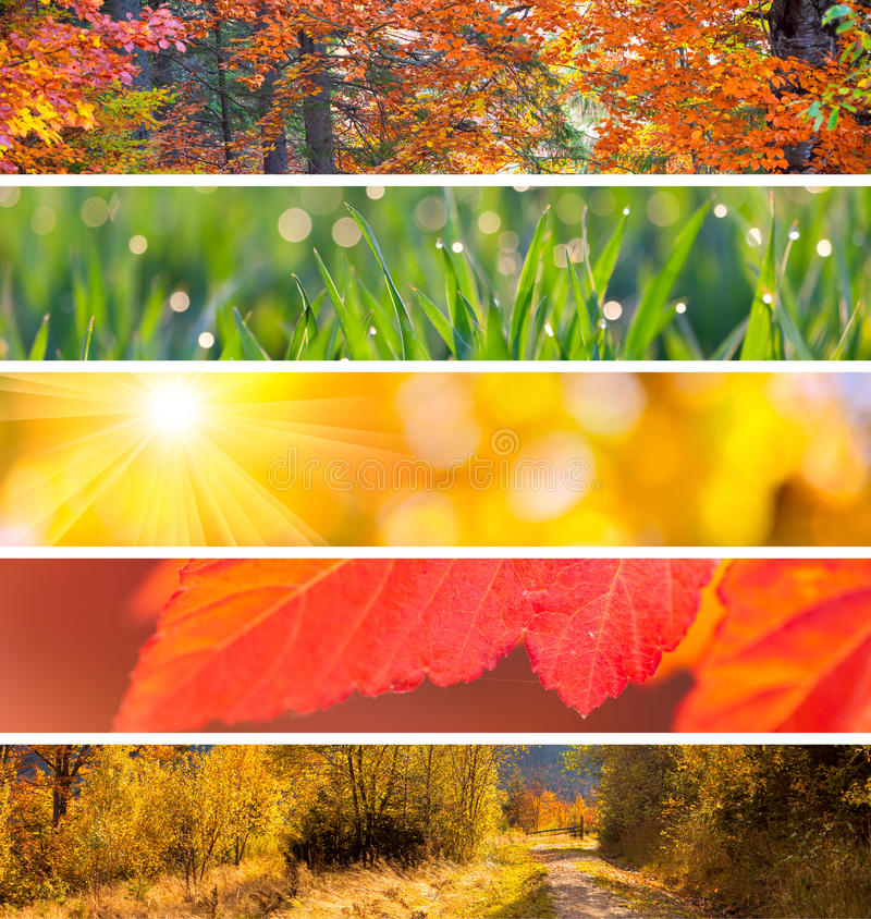 Collection of Autumn Headers - fall season abstract background stock photos