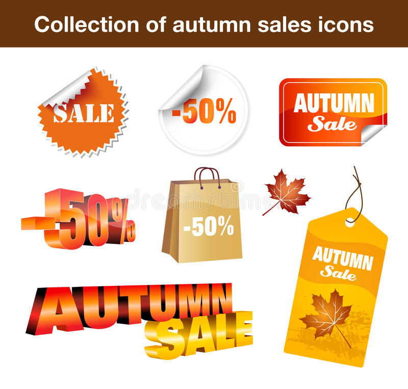 Collection Of Autumn Sales Stickers Stock Photos