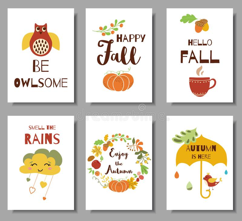 Collection of autumn typography flyer template with lettering. Bright fall elements vector royalty free illustration
