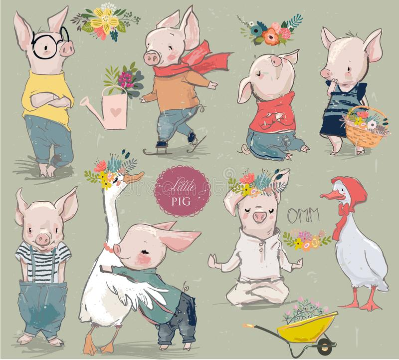 Collection avec porcin et le canard illustration stock