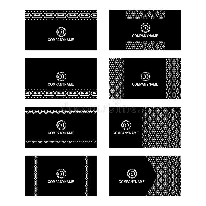 Set of aztec business card design stock vector illustration of collection of 8 aztec style vector aztec style business card in black and white design ai cs5 colourmoves
