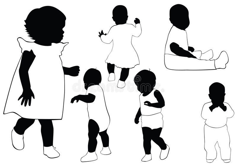 Collection of babies. Black outline. Vector royalty free illustration