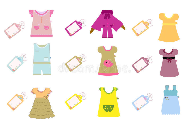 Collection of baby and children clothes vector illustration