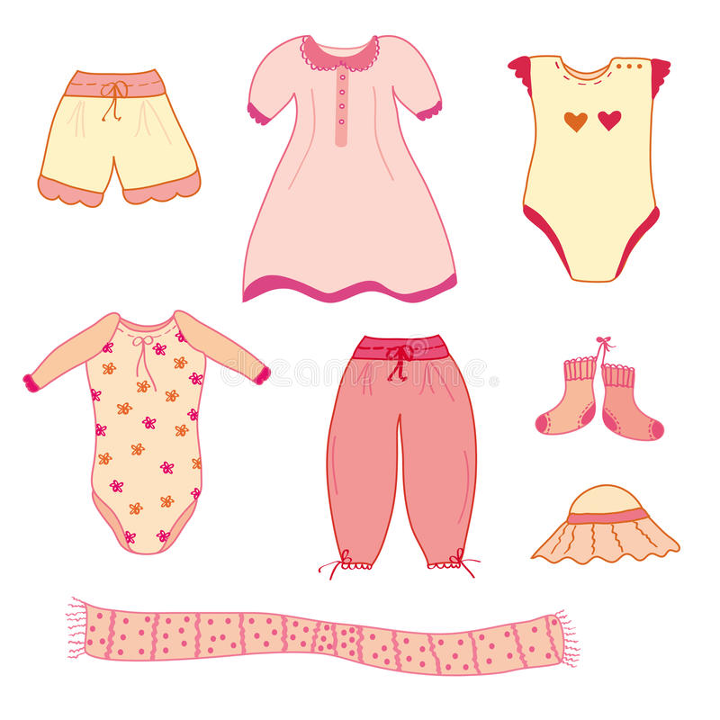 Collection of the baby girl clothes vector illustration