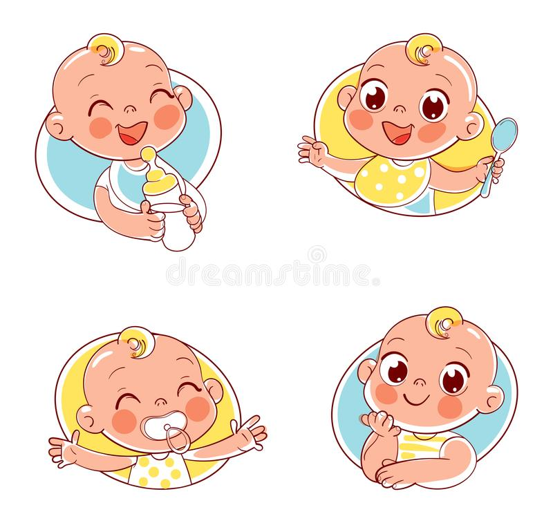 Collection of baby portraits in different situations. Happy smiling newborn boy or girl. Collection of baby portraits in different situations. Logo design stock illustration
