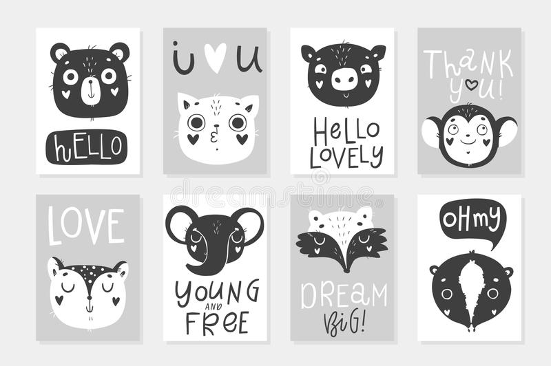 Collection of 8 baby shower posters, vector invites. royalty free illustration