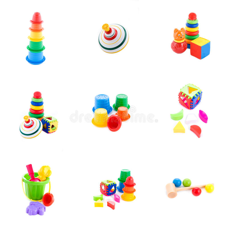 Collection of baby toys stock photography