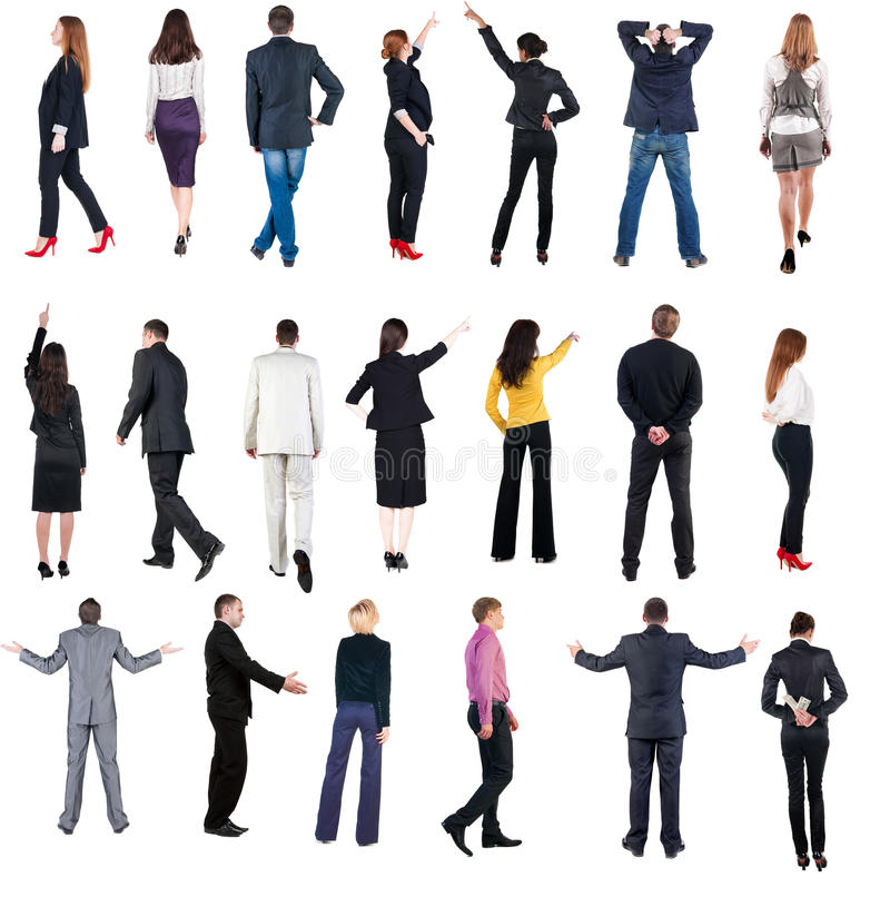 Collection Back view of business people. royalty free stock images
