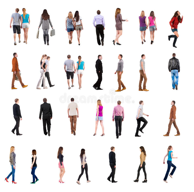 Collection of people's back view. Collection back view of walking people . going people in motion set. backside view of person. Rear view people collection stock image