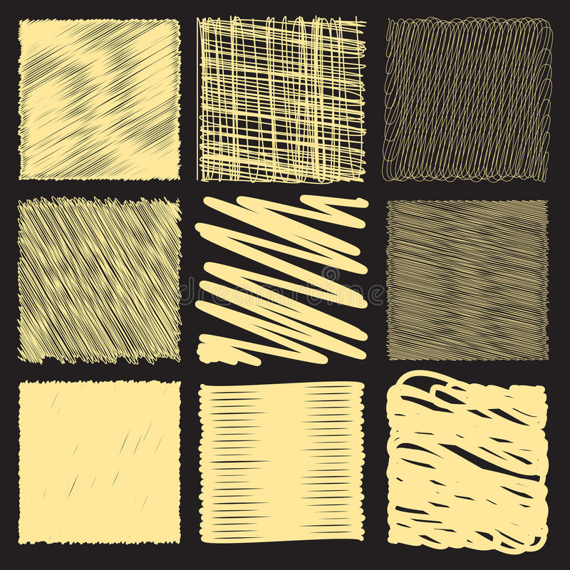 Collection of backgrounds with linear doodles. vector illustration