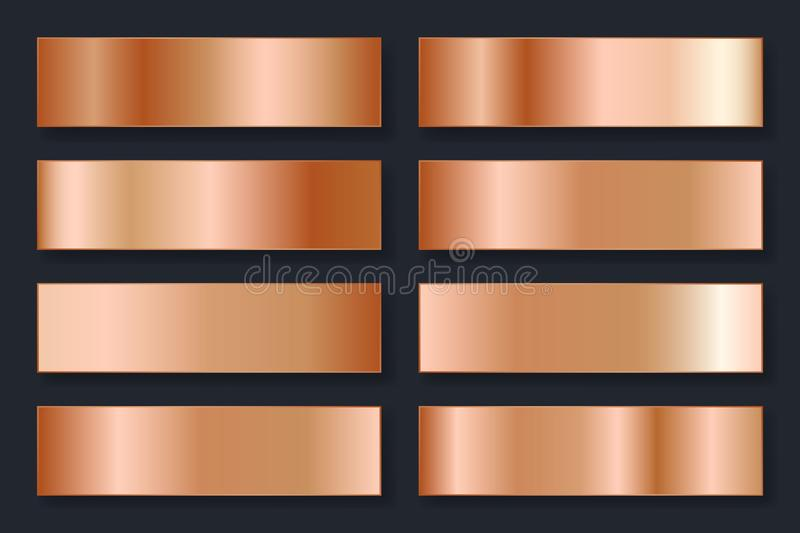 Collection of backgrounds with a metallic gradient. Brilliant plates with bronze effect. Vector illustration.  stock illustration