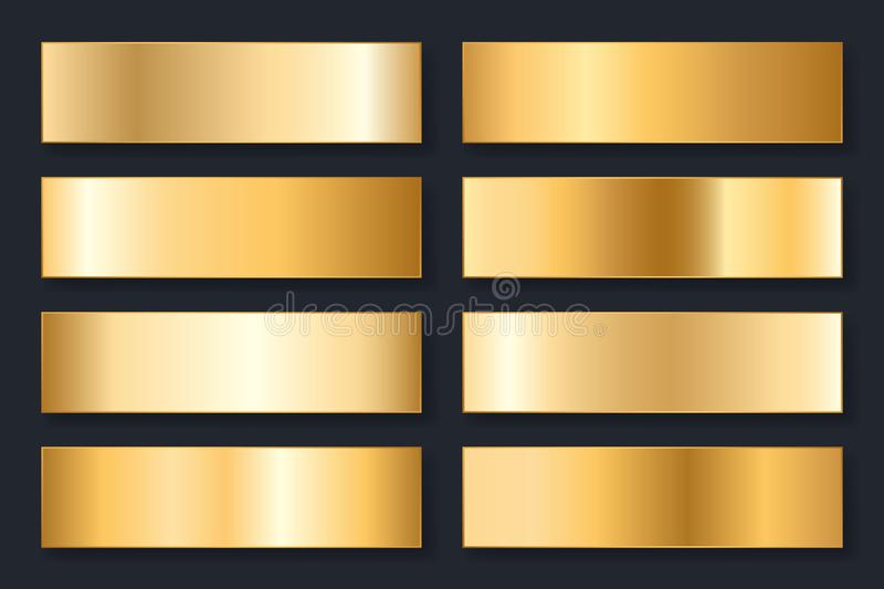 Collection of backgrounds with a metallic gradient. Brilliant plates with gold effect. Vector illustration.  royalty free illustration