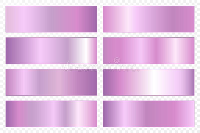 Collection of backgrounds with a metallic gradient. Brilliant plates with ultraviolet effect. Vector illustration.  stock illustration