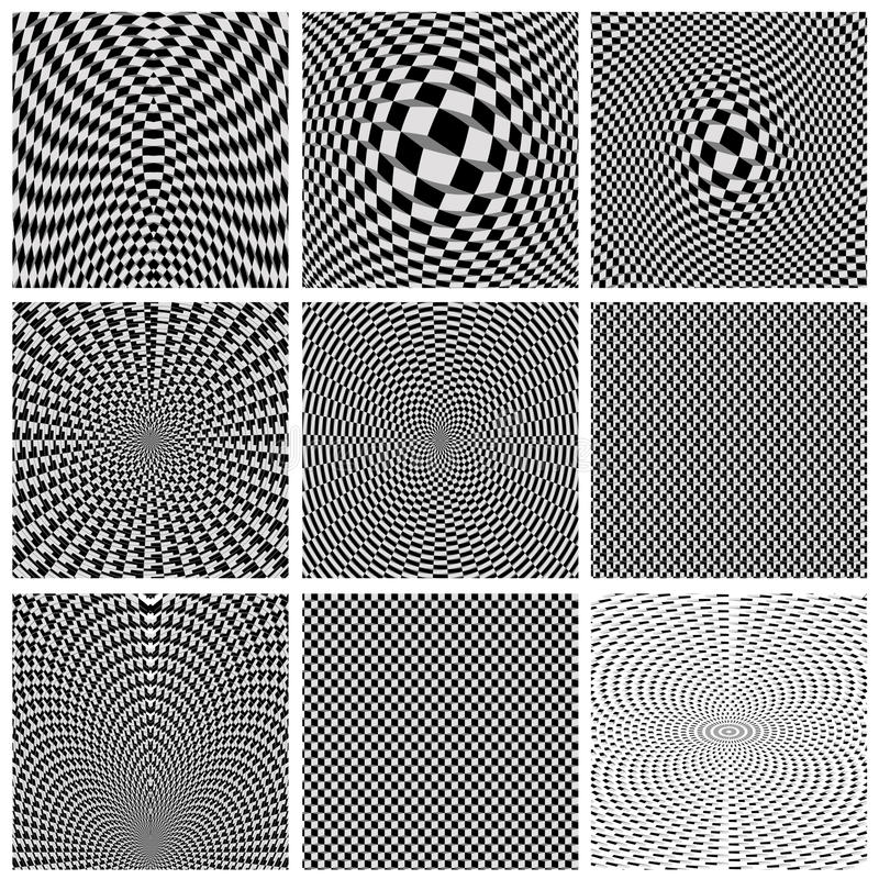 Collection of backgrounds optical illusions stock illustration