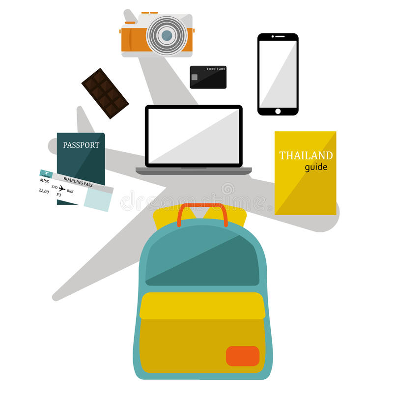 Collection of Backpack supplies set for traveling. vector stock photography