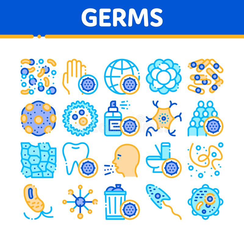 Collection Bacteria Germs Vector Sign Icons Set stock illustration