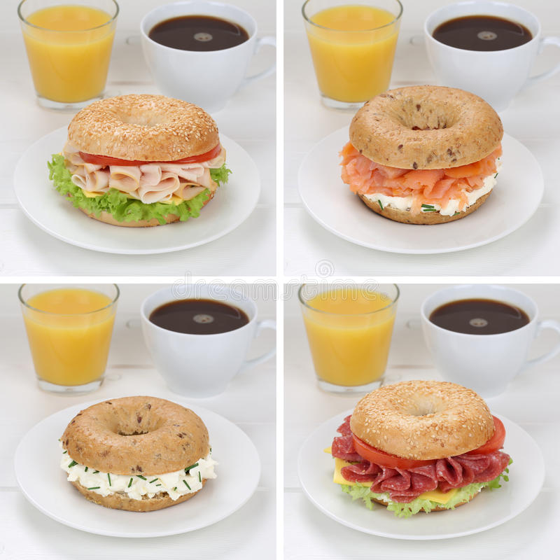 Collection of bagels for breakfast with ham, salmon, orange juice and coffee stock images