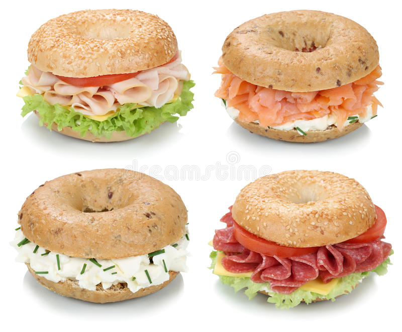 Collection of bagels with cream cheese, salmon and ham for break stock photography
