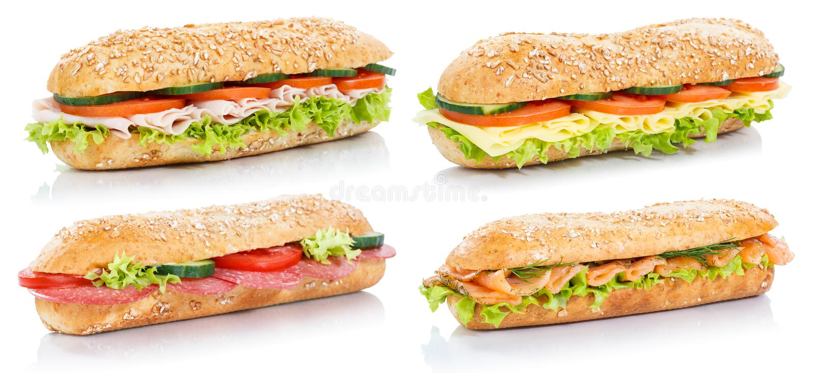 Collection of baguette sub sandwiches with salami ham cheese sal. Mon fish whole grains fresh on a white background royalty free stock photo