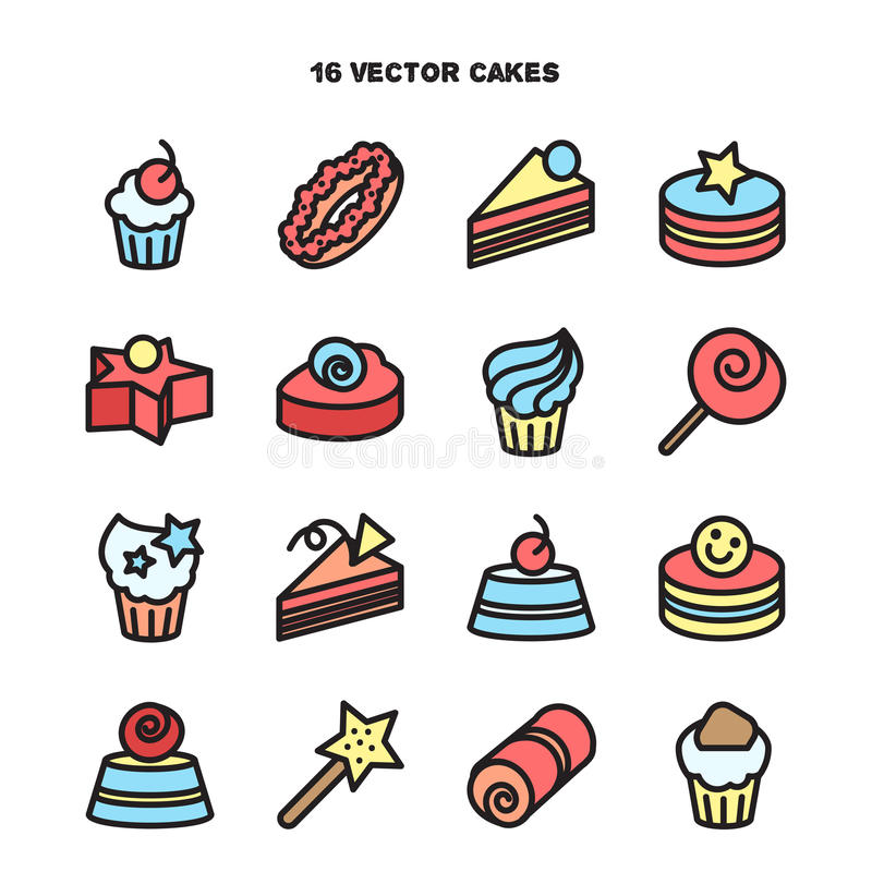 Collection of bakery and cake icons. Candy, sweet set. Vector royalty free illustration
