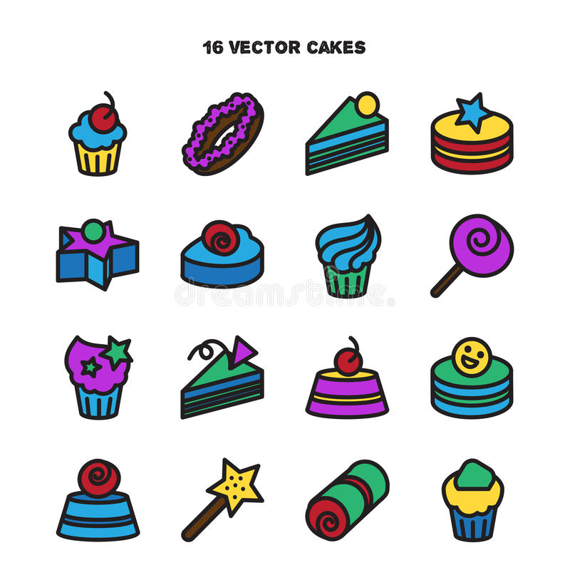 Collection of bakery and cake icons. Candy, sweet set. Vector vector illustration