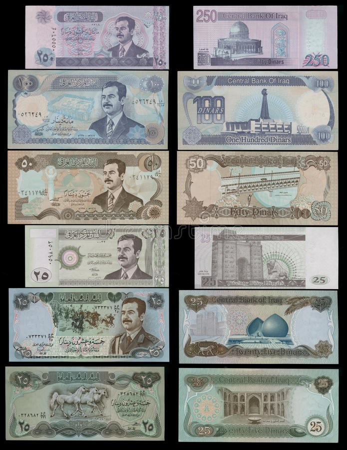 Collection of banknotes Iraqi dinars portrait Saddam Hussein royalty free stock photography