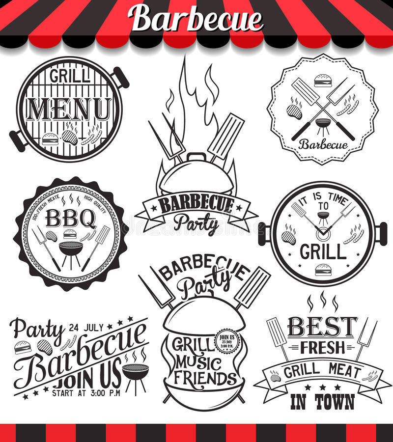 Collection of barbecue signs symbols and icons stock