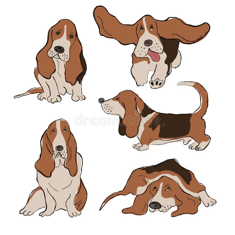 Collection Of Basset Hound Dog Icons royalty free illustration
