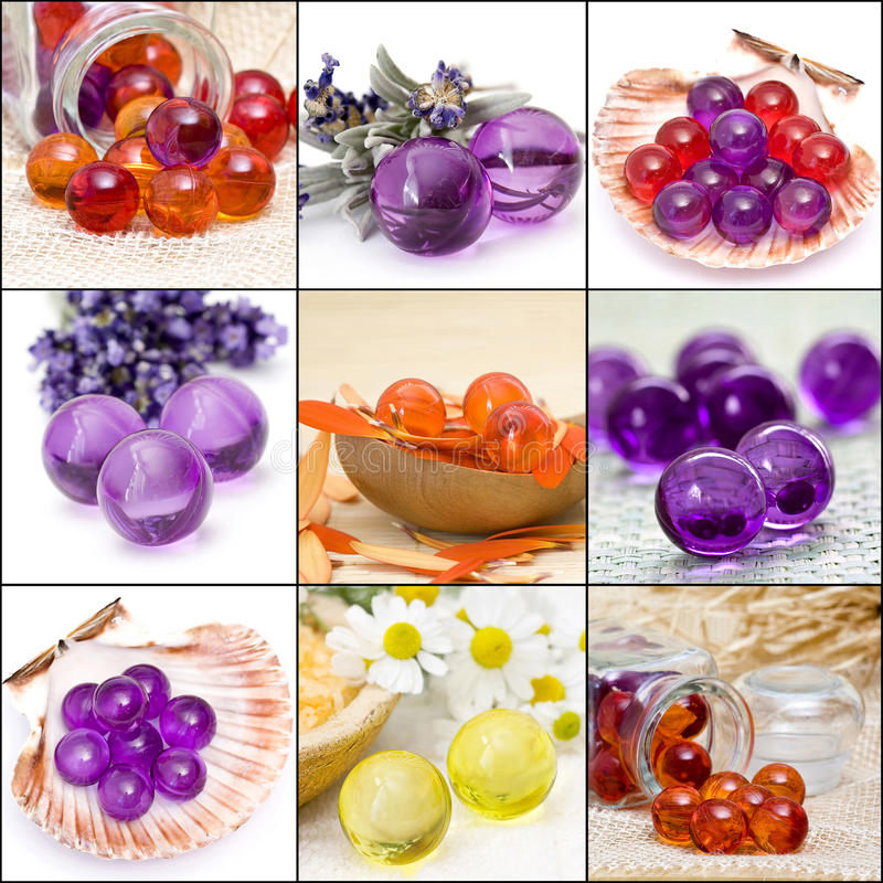 Collection of bath pearls stock photography