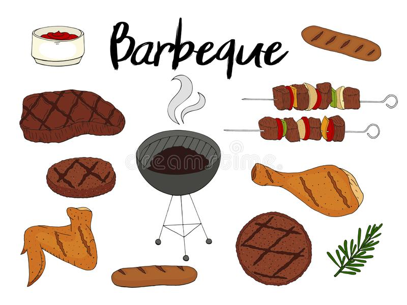 Collection of BBQ objects. Set of barbecue elements. stock illustration