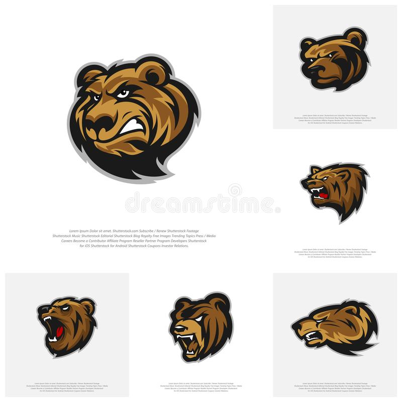 Collection of Bear Logo design vector. Modern professional grizzly bear logo for a sport team stock illustration