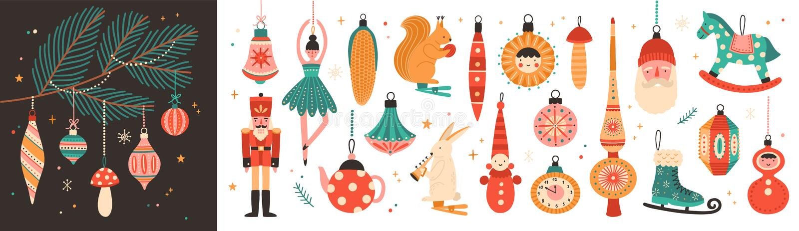 Collection of beautiful baubles and decorations for Christmas tree. Set of holiday ornaments. Figures of animals, Santa stock illustration