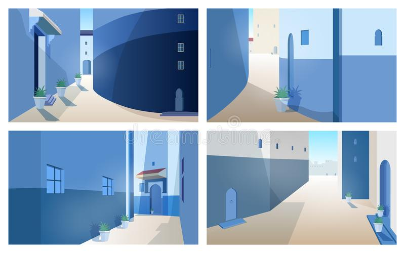 Collection of beautiful Morocco landscapes with building royalty free illustration